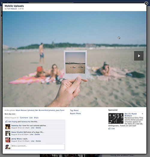 Facebook's previous photo viewer